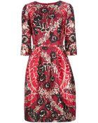 Oscar de la Renta Abstract Print Dress - Lyst