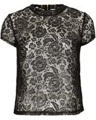Topshop Coated Lace Tee - Lyst