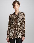Equipment Signature Leopard-Print Slim Blouse - Lyst
