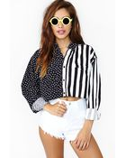 Nasty Gal Stars Stripes Crop Blouse - Lyst