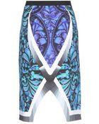 Peter Pilotto Spiral Digital Print Skirt - Lyst