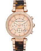 Michael Kors Womens Chronograph Parker Tortoise Acetate and Rose Goldtone Stainless Steel Bracelet 39mm - Lyst