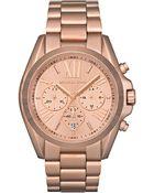 Michael Kors Womens Chronograph Bradshaw Rose Goldtone Stainless Steel Bracelet 43mm - Lyst