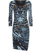 McQ by Alexander McQueen Kaleidoscopic Beetle Print Asymmetric Dress - Lyst