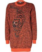 Kenzo Mandarin Print Embroidered Cotton Sweater Dress - Lyst