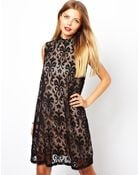 Asos High Neck Baroque Lace Shift Dress - Lyst