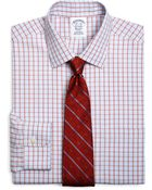 Brooks Brothers Supima Cotton Noniron Slim Fit Spread Collar Broadcloth Endonend Framed Check Dress Shirt - Lyst