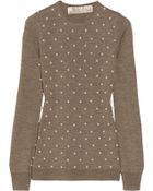 Lela Rose Embellished Wool Silk and Cashmereblend Sweater - Lyst