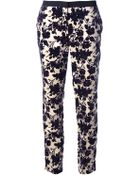 Tory Burch Floral Trouser - Lyst
