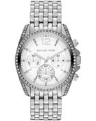 Michael Kors Midsize Silver Color Stainless Steel Pressley Chronograph Glitz Watch - Lyst