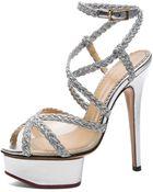 Charlotte Olympia Isadora Metallic Nappa Leather Heel - Lyst