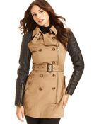 W118 by Walter Baker Longsleeve Quilted Fauxleather Trench - Lyst