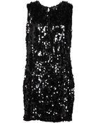 Armani Jeans Sleeveless Round Collar Black Short Dress - Lyst