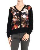 Frankie Morello Sweater Cardigan Flowers Pattern - Lyst