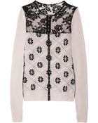 Nina Ricci Lattice-effect Wool and Cashmere-blend Cardigan - Lyst