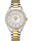 Bulova Womens Twotone Stainless Steel Bracelet 33mm 98l181 A Macys Exclusive - Lyst
