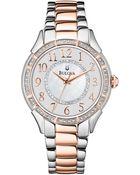 Bulova Womens Twotone Stainless Steel Bracelet 33mm 98l182 A Macys Exclusive - Lyst