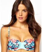 Asos Seafolly Bella Rose Mirror Print Bustier Bikini Top - Lyst
