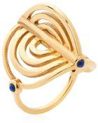 Lee Renee Miami Circle Ring - Gold & Lapis/Garnet - Lyst