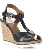 Dune Giraffe T-bar Wedge Sandals - Lyst