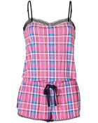 Juicy Couture Cotton Blend Printed Romper in Highliter Brentwood Plaids - Lyst