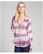 Fifteen-twenty Pink And Teal Tie Dye Print Sheer Silk V-Neck Blouse - Lyst