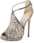 Jimmy Choo Fey Peeptoe Leopardprint Sandal - Lyst