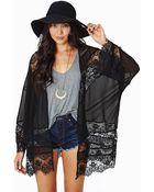 Nasty Gal Sheer Caress Kimono Black - Lyst