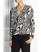 Etro Printed Wrap-Front Silk Top - Lyst