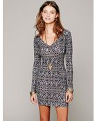 Free People Strapped Up Print Bodycon - Lyst