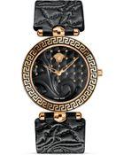 Versace Vanitas Rose Gold Pvd Watch With Black Enamel Dial, 40Mm - Lyst