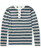 Billy Reid Striped Cottonjersey Henley Tshirt - Lyst