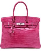 Heritage Auctions Special Collection 30cm Shiny Fuschia Porosus Crocodile Hermes Birkin - Lyst