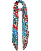 Kenzo Red and Blue Birds Of Paradise Print Cottonblend Scarf - Lyst
