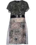 Rue du Mail Organza Round Collar Gray Short Dress - Lyst