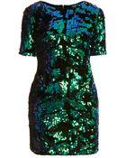 Topshop Sequin Velvet Dress - Lyst