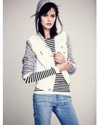 Free People Knit Hooded Denim Jacket - Lyst