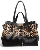 Jimmy Choo Farrah Dégradé Leopard Print Calf Hair Satchel Extra Large - Lyst