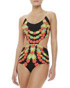 Mara Hoffman Laceup Onepiece Swimsuit Multicolor Garlandsblack - Lyst