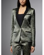Patrizia Pepe Gold Lamé Fabric Jacket - Lyst