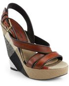 Burberry Warlow Leather & Check Wedge Sandals - Lyst