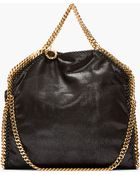 Stella McCartney Black And Gold Falabella Baby Tote - Lyst