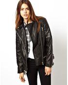 Asos Leather Boyfriend Biker Jacket - Lyst