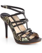 10 Crosby Derek Lam Jims Snakeskin Leather Sandals - Lyst