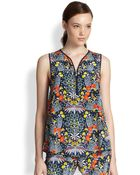 Marc By Marc Jacobs Maddy Botanical Print Silk Top - Lyst