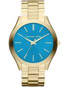 Michael Kors Women'S Slim Runway Gold-Tone Stainless Steel Bracelet Watch 42Mm Mk3265 - Lyst