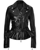 McQ by Alexander McQueen Leather Biker Jacket with Peplum - Lyst