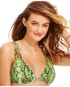 Volcom Reversible Snake-Printed Bikini Top - Lyst