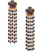 Oscar de la Renta Floral Crystal Tassel Clipon Earrings - Lyst