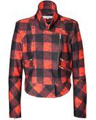 Preen Line Printed Wool Biker Jacket - Lyst